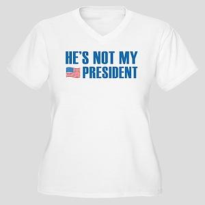He's Not My President Women's Plus Size V-Neck T-S