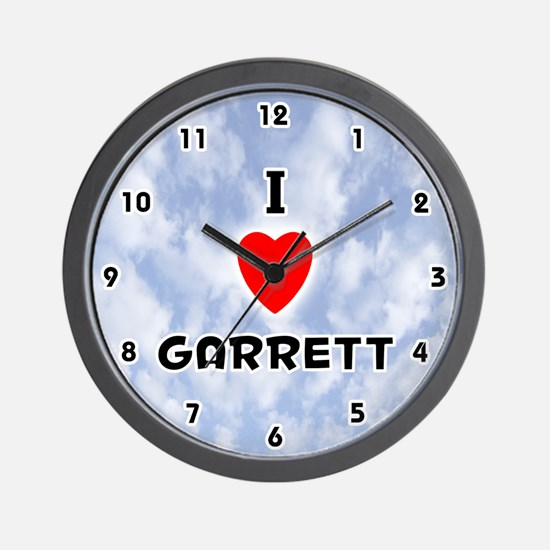 I Love Garrett (Black) Valentine Wall Clock
