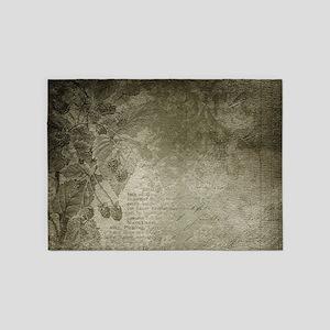 Antique Floral Vintage Grunge Grey 5'x7'Area Rug