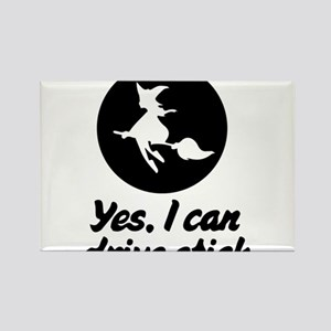 Yes, I can drive stick. Witch T-Shirt Rectangle Ma