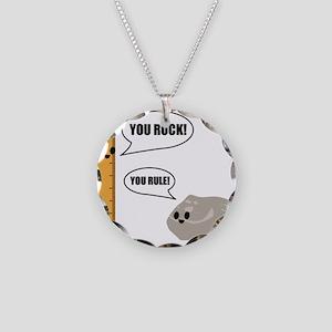 You Rock! You Rule! Pun Necklace Circle Charm