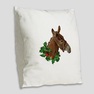 Muletide Greetings Burlap Throw Pillow