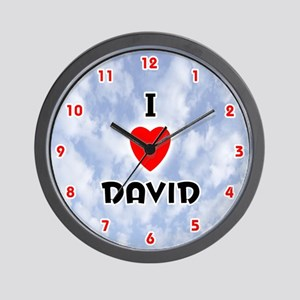 I Love David (Red/Blk) Valentine Wall Clock