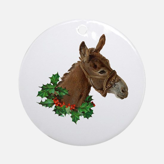 Muletide Greetings Round Ornament
