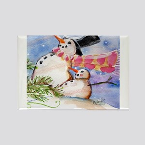 Snowmen Rectangle Magnet