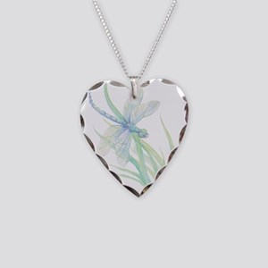 Watercolor Dragonfly painting Necklace Heart Charm