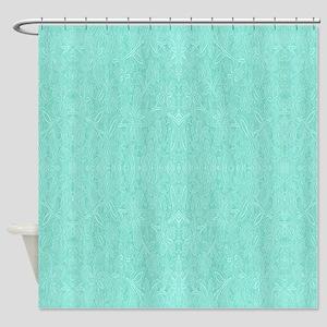 Mint Green Print Shower Curtain