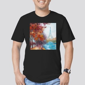 Paris Painting Men's Fitted T-Shirt (dark)
