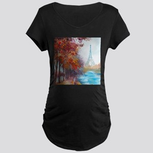 Paris Painting Maternity Dark T-Shirt