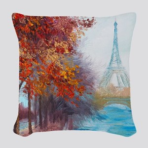 Paris Painting Woven Throw Pillow