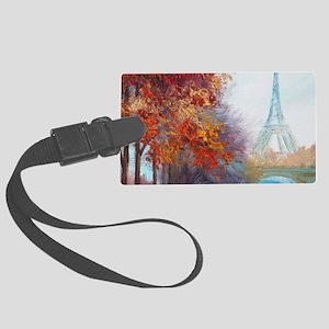 Paris Painting Large Luggage Tag