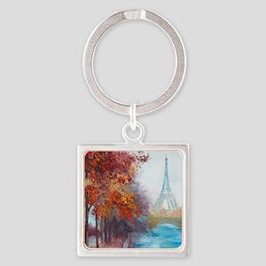 Paris Painting Square Keychain