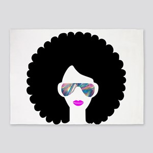 hologram afro girl 5'x7'Area Rug