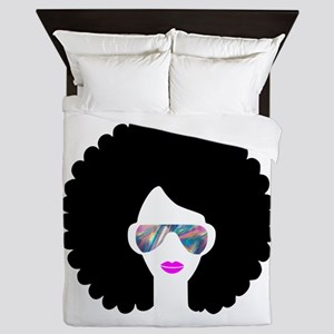 hologram afro girl Queen Duvet