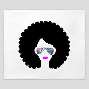 hologram afro girl King Duvet