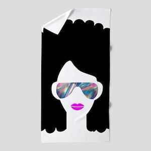 hologram afro girl Beach Towel