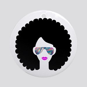 hologram afro girl Round Ornament