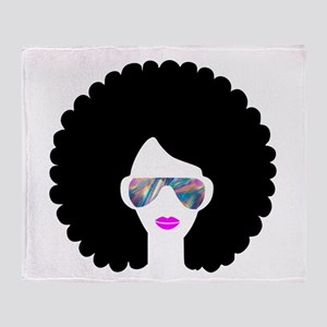 hologram afro girl Throw Blanket