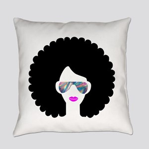 hologram afro girl Everyday Pillow