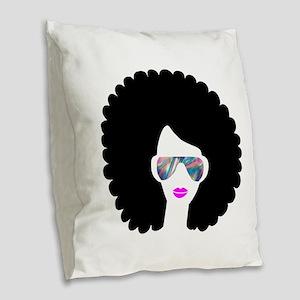 hologram afro girl Burlap Throw Pillow