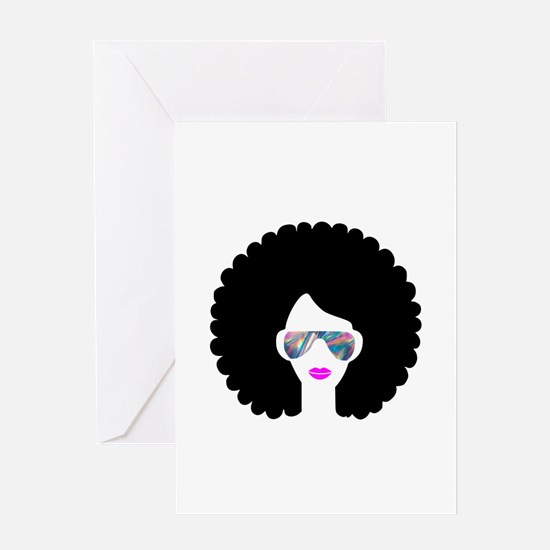 hologram afro girl Greeting Cards
