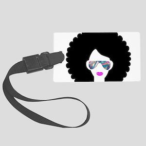hologram afro girl Large Luggage Tag
