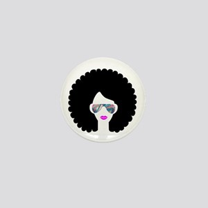 hologram afro girl Mini Button