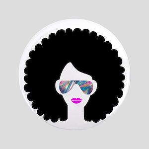 hologram afro girl Button