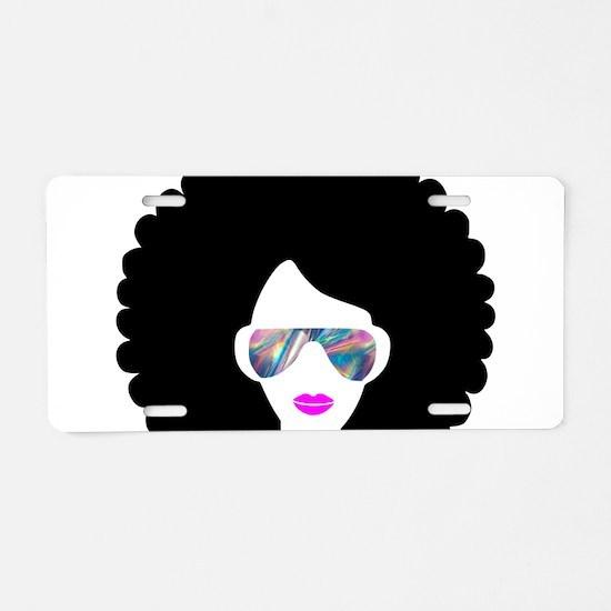 hologram afro girl Aluminum License Plate