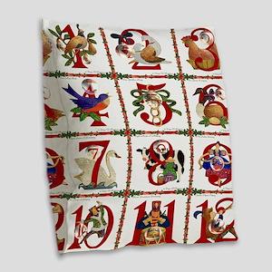 12 Days Of Christmas Burlap Throw Pillow