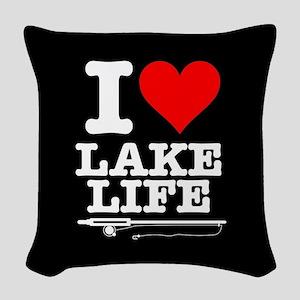 I Heart Lake Life Woven Throw Pillow