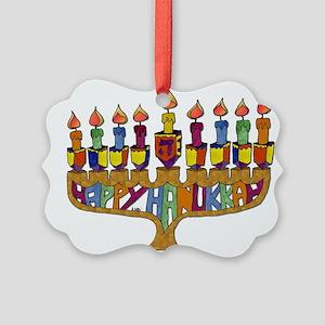 Happy Hanukkah Dreidel Menorah Ornament