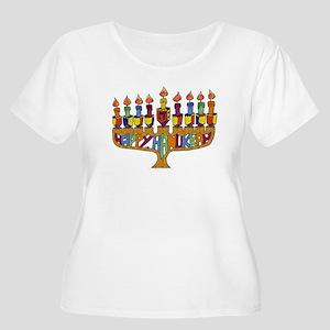 Happy Hanukkah Dreidel Menorah Plus Size T-Shirt