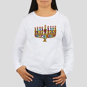 Happy Hanukkah Dreidel Menorah Long Sleeve T-Shirt