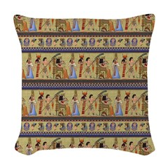 Painted Egyptian Hieroglyphics Woven Throw Pillow