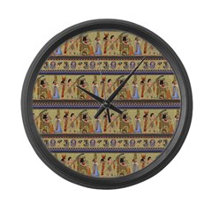 Painted Egyptian Hieroglyphics Large Wall Clock