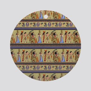 Painted Egyptian Hieroglyphics Round Ornament