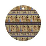 Painted Egyptian Hieroglyphics Round Ornament