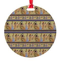 Painted Egyptian Hieroglyphics Ornament