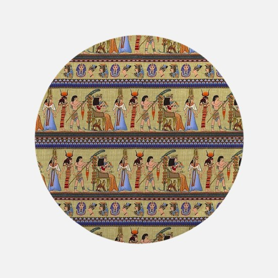 Painted Egyptian Hieroglyphics Button