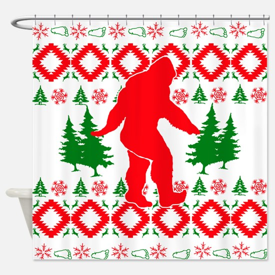 Christmas Ugly Bigfoot Shower Curtain