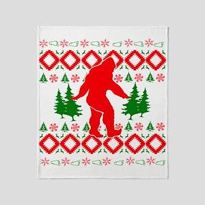 Christmas Ugly Bigfoot Throw Blanket