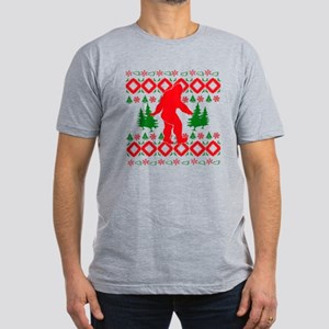 Christmas Ugly Bigfoot Men's Fitted T-Shirt (dark)