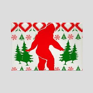 Christmas Ugly Bigfoot Rectangle Magnet