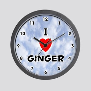 I Love Ginger (Black) Valentine Wall Clock