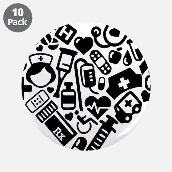 """Nurse Heart 3.5"""" Button (10 pack)"""