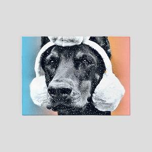 Dog wearing a Reindeer Hat 5'x7'Area Rug
