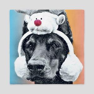 Dog wearing a Reindeer Hat Queen Duvet