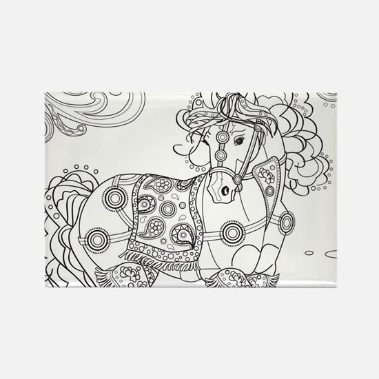 Prancing Paisley Horse Design: B&w Magnets