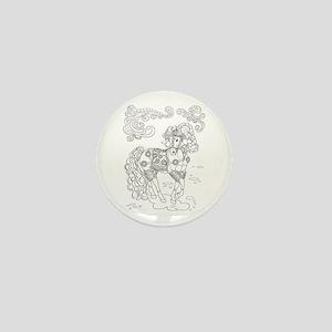 Prancing Paisley Horse Design: B&w Mini Button